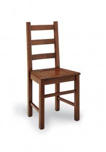 Klasična stolica izrađena od masivnog drva u boji oraha sa sjedištem od drva. Dimenzije 97 x 43 x 43 cm. Može se naručiti u različitim bojama drva, te sjedištima od slame, tkanine ili drva.