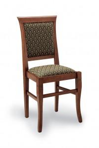 Klasična stolica izrađena od masivnog drva u boji oraha sa sjedištem i leđima u tkanini zeleno zlatne boje. Dimenzije 96 x 46 x 44 cm. Može se naručiti u različitim bojama drva i tkanina.