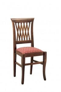 Klasična stolica izrađena od masivnog drva u boji oraha sa sjedištem u tkanini bordo boje. Dimenzije 96 x 46 x 44 cm. Može se naručiti u različitim bojama drva i tkanina.