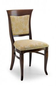 Klasična drvena stolica u boji oraha, sa sjedištem i leđima u tkanini. Može se naručiti i u drugim bojama drva te dugim vrstama i bojama tkanine.