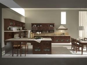 ANASTASIA - klasična kuhinja koja ima velike mogučnosti slaganja elemenata po mjeri prostora. Vratnica boje kestena izrađena od drva debljine 24 mm., sa velikim izborom radnih ploča i ručkica. Na desnom zidu je klasična napa ispod koje je ploča za kuhanje na bagni elementima sa ladicama, do kojih je element sa vratima, za sudoper i perilicu. Viseći elementi drvene kuhinje su polu otvorenog tipa sa ispod malim ladicama. Na lijevom zidu su povišeni doljni elementi sa staklom, iznad kojih su viseći elementi sa vratima. Uz kuhinju je kombiniran stol sa stolicama u istom klasičnom stilu.