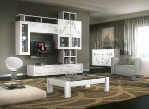 Moderna TV kompozicija, izrađena od masivnog drva, bojana u bijelu boju. U kompletu su moderni stolić i moderna komoda sa šest ladica i dva vrata. Mogu se birati i drugi elementi Tv kompozicije u različitim dimenzijama i bojama.