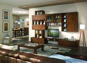Moderna TV kompozicija ravnih linija, izrađena od masivnog drva, bojana u boju oraha. U kompletu je moderni stolić ravnih linija. Sve se može naručiti u drugim dimenzijama i u drugim bojama.