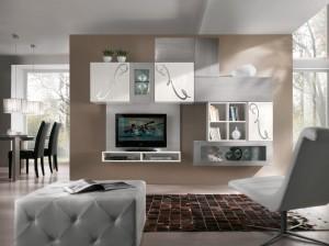 Moderna Tv kompozicija izrađena od drva, bojana u sivu i bijelu boju sa dekoracijama. Svi elementi su viseći, može se naručiti u drugim bojama i veličinama.