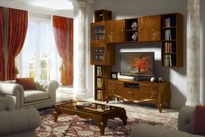 Klasična Tv kompozicija i klasični stolić izrađeni od masivnog drva u boji hrasta sa dekoracijama. Može se naručiti u drugim bojama i drugim kompozicijama.