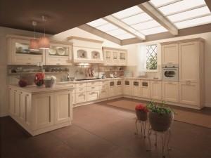 TERRA - klasična kuhinja koja ima velike mogučnosti slaganja elemenata po mjeri prostora. Vratnica u krem decapè boji, izrađena je od drva debljine 24 mm., sa velikim izborom radnih ploča i ručkica. Kuhinja je razigrane kompozicije, gdje su kombinirani viseć elementi sa staklom, visoke kolone za pečnicu i frižider, bazni elementi sa vratima i ladicama iznad kojih su smješteni sudoper i ploča za kuhanje, a iznad kojih je velika napa. Sa lijeve strane je kuhinja završena sa otokom, na kojem se nalazi velika radna površina, dok su ispod nje elementi sa vratima.