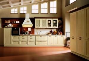 DAMA - klasična kuhinja koja ima velike mogučnosti slaganja elemenata po mjeri prostora. Vratnica u smeđoj boji, izrađena je od drva debljine 30 mm., sa velikim izborom radnih ploča i ručkica. S lijeve strane su dvije niže kolone, jedna za frižider, a druga za ugradbenu pećnicu , pa ploča za kuhanje u elementima sa ladicama, iznad kojih je velika napa. U nastavku je sudoper iznad elementa sa dubokim ladicama , do kojih su tri bazna elementa sa vratima. Na zidu su viseći elementi sa vratima.