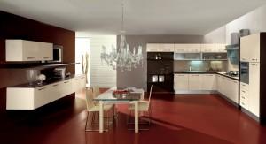 ELECTA - moderna kuhinja od mediapana sa velikim mogučnostima slaganja elemenata. Na slici je prikazana kuhinja sa kolonom za ugradbenu pećnicu i kolonu za frižider na desnoj strani, do njih je ploča za kuhanje sa napom, pa kut, nakon kojeg je sudoper i perilica posuđa, a na kraju ljeve strane je polica otvorenog tipa. Iznad svih baznih elemenata su viseći stakleni elementi te elementi od mediapana. Vratnice kuhinje su u krem boji, dok su struktura i radna ploča u wenge boji. Na drugom zidu, u kompletu s kuhinjom su elementi za denvni dio. U centru prostojije su stoli i stolice u istoj boji. Kuhinja po mjeri za sve prostore i sve veličine.