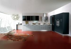 ELECTA - moderna kuhinja od mediapana sa velikim mogučnostima slaganja elemenata. Na slici je prikazana kuhinja sa kolonom za ugradbenu pećnicu i kolonu za frižider na desnoj strani, a do njih su dvije kolone kao spremište, te kut, do kojeg je ploča za kuhanje sa napom, sudoper i perilica posuđa, iznad kojih se viseći stakleni elementi. Vratnice kuhinje tj.vratnice kolona i baznih elemenata su u kombinaciji svijeto i tamno sive boje, dok su vratnice visećih elemenata u crnom staklu. Kuhinja po mjeri za sve prostore i sve veličine.