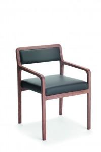 Moderna stolica od drva sa sjedištem i leđima u koži. Mogu se naručiti i u drugim bojama.