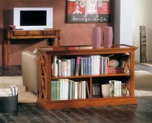 Klasična polica za knjige otvorenog tipa. Izrađena je od masivnog drva, u boji oraha. Može se naručiti u drugim bojama i veličinama.
