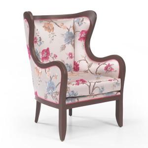Klasična fotelja sa drvenim okvirom u boji oraha, presvučena u materijal sa cvijetnim uzorkom. Može se naručiti u drugim bojama drva i drugim bojama materijala.