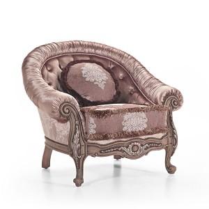 Klasična fotelja sa rukonaslonima i nogicama u drvu boje lješnjaka, presvučena u kombinaciju jednobojnog pliša i materijala sa cvijetnim uzorkom. Može se naručiti u drugim bojama.
