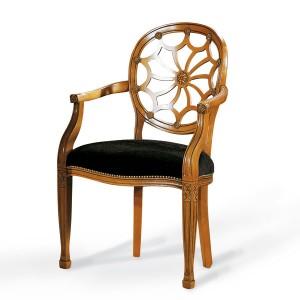 Klasična drvena stolica sa rukonaslonima, lakirana u svijetlu boju oraha, sjedište u tkanini. Može se naručiti u drugim bojama drva i drugim bojama tkanina.