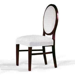 Klasična drvena stolica u boji tamnog oraha, sjedište i leđa u tkanini. Može se naručiti u bilo kojim bojama drva i bojama tkanina.