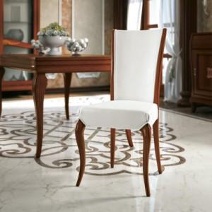 Klasična drvena stolica u boji oraha, sjedište i leđa u tkanini. Stolica se može naručiti u bilo kojim boajma drva i različitim tkaninama.