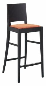 Moderna barska stolica od drva, te sjedištem koje se može naručiti u različitim materijalima i bojama. Boja drva se kupac sam bira.