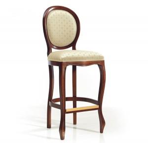 Klasična barska stolica u boji oraha, sjedište i leđa u tkanini. Visina sjedišta 80 cm. Može se naručiti u raznim bojama drva i raznim drugim bojama tkanina za sjedište i naslon.