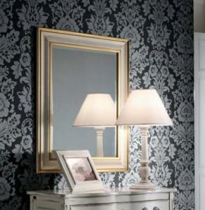 Klasično ogledalo, kombinacija srebrne i zlatne boje, dimenzije 78x95 h. Može se naručiti i u drugim bojama i veličinama.