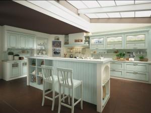 TERRA - klasična kuhinja koja ima velike mogučnosti slaganja elemenata po mjeri prostora. Vratnica u zelenoj boji, izrađena je od drva debljine 30 mm., sa velikim izborom radnih ploča i ručkica. Kuhinja je napravljena u ugradbenom stilu. S ljeve strane su bazni i viseći klasični elementi, u ugradbenoj koloni u sredini je pečnica, poslije koje sa desne strane ide pliča za kuhanje sa napom te sudoper sa ladicama, iznad kojeg su viseći elementi sa vratima od stakla. Na sredini prostorije je otok, koji sa prednje strane služi kao radna površina, dok je od otraga šank sa barskim stolicama. Uz kuhinju je kombiniran klasični stol sa klasičnim stolicama u istoj boji kuhinje.