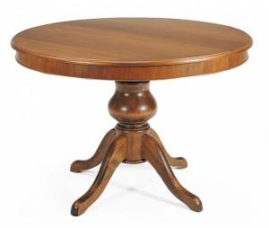 Klasični okrugli stol, koji se otvara u ovalni. Izrađen je od masivnog drva i bojan u klasičnu smeđu boju.