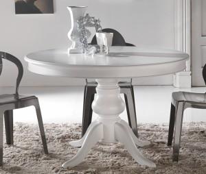 Klasični okrugli stol, koji se otvara u ovalni. Izrađen je od masivnog drva i bojan u bijelu boju.