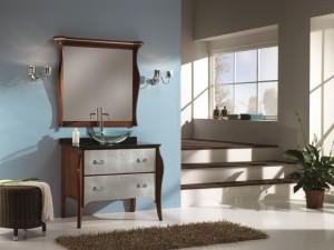 Klasični stilski element za lavabo sa 2 ladice. Element je bojan u klasičnu boju oraha, dok su ladice bojane u srebrnu boju. U kompletu je klasično odledalo u boji oraha.