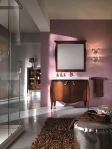 Klasični stilski element za lavabo sa 2 vrata, u kompletu sa klasičnim ogledalom. Bojano u klasičnu boju oraha.