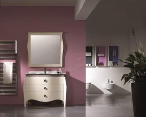 Klasični stilski element za lavabo sa 3 ladice, u kompletu sa klasičnim ogledalom. Bojano u antik bijelu boju. Može se naručiti i u drugim bojama.