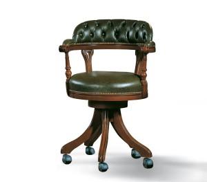 Klasična kožna radna fotelja, maslinasto zelena koža u kombinaciji sa drvom u boji oraha.