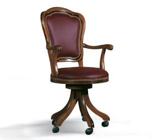 Klasična kožna radna fotelja u kombinaciji drva i bordo boje kože. Može se naručiti i u drugim bojama drva, te drugim bojama kože.