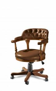 Klasična kožna radna fotelja, struktura od masivnog drva bukve presvučena u kožu I.kvalitete, mogućnost okretanja, dizanja i spuštanja, te nagiba leđa. Može se naručiti i u drugim bojamadrva, te drugim bojama kože.