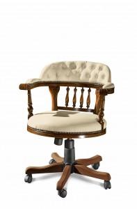 Klasična kožna radna fotelja, struktura od masivnog drva bukve presvučena u kožu I.kvalitete, mogućnost okretanja, dizanja i spuštanja, te nagiba leđa. Može se naručiti i u drugim bojama drva, te drugim bojama kože.