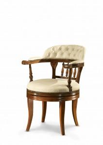 Klasična kožna radna fotelja, struktura od masivnog drva bukve presvučena u kožu I.kvalitete, mogućnost okretanja sjedišta. Može se naručiti i u drugim bojama drva , te drugim kožama.