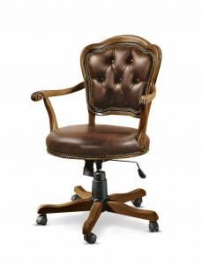 Klasična kožna radna fotelja, struktura od masivnog drva bukve presvučena u kožu I.kvalitete, mogućnost okretanja, dizanja i spuštanja, te nagiba . Može se naručiti u drugim bojama drva i drugim bojama kože.