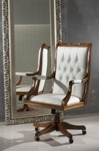 Klasična kožna radna fotelja, struktura od masivnog drva bukve kompletno presvučena u kožu I.kvalitete. Može se naručiti i u drugim bojama drva i drugim bojama kože.