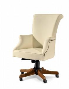 Klasična kožna radna fotelja, kompletno presvučena u kožu I.kvalitete, mogućnost okretanja, dizanja i spuštanja, te nagiba leđa. Moguće je naručiti i u drugim bojama drva, te drugim bojama kože.