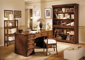 Klasični uredski namještaj, izrađen od masivnog drva u boji oraha. Klasični radni stol sa deset ladica u kombinaciji sa klasičnom bibliotekom otvorenog tipa sa tri ladice, učinit će tvoj prostoj elegantnim i bezvremenski. Može naručiti i u drugim bojama drva.